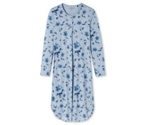 Nachthemd langarm Blumenmuster hellblau - Winter Blossoms