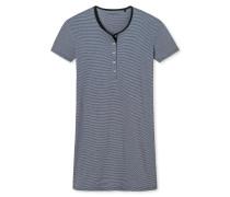 Sleepshirt kurzarm Ringel Knopfleiste graphit-graublau - Go Indigo