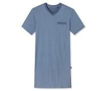 Nachthemd kurzarm indigoblau gemustert - Original Classics