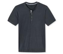 Shirt kurzarm Cotton-Modal-Jersey mit Knopfleiste anthrazit - Mix & Relax