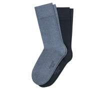 Herrensocken 2er-Pack jeansblau - Cotton Fit