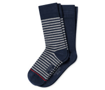 Herrensocken 2er-Pack Ringel dunkelblau - Cotton Fit