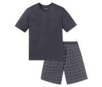 Schlafanzug kurz Jersey V-Ausschnitt grau - Ebony