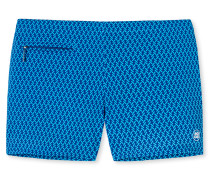Bade-Retroshorts Wirkware türkis-blau gemustert - Aqua Nautical