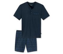 Schlafanzug kurz Serafino-Kragen dunkelblau - Original Classics
