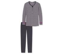 Schlafanzug lang Ringel Knopfleiste silbergrau-graphit - Attitude