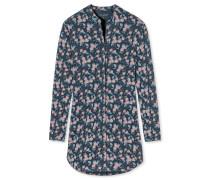 Nachthemd langarm Interlock Knopfleiste Rosen mehrfarbig - Aura