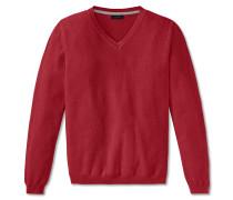 Pullover Strick Struktur V-Ausschnitt rot meliert - selected! premium