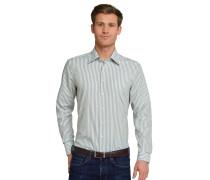Hemd langarm bügelfrei Kentkragen khaki-weiß gestreift - REGULAR FIT