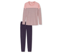 Schlafanzug lang Ringel rosenholz-blaugrau – Aura
