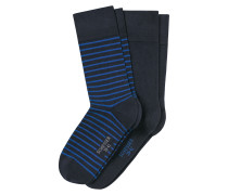 Herrensocken 2er-Pack Ringel royal - Cotton Fit