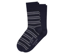 Herrensocken 2er-Pack Ringel navy - Extrafein
