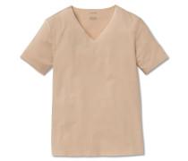Shirt Interlock seamless kurzarm V-Ausschnitt nude - Laser Cut