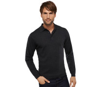 Strickpullover Polo-Neck anthrazit meliert Kaschmir