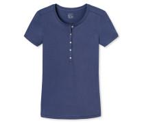 "dunkelblaues ""Mix & Relax"" - T-Shirt mit Knopfleiste"