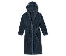 Bademantel Nicki Jacquard Kapuze graublau gemustert - Selected! Premium