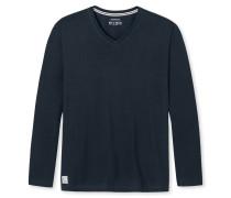 Shirt langarm V-Ausschnitt dunkelblau - Mix & Relax