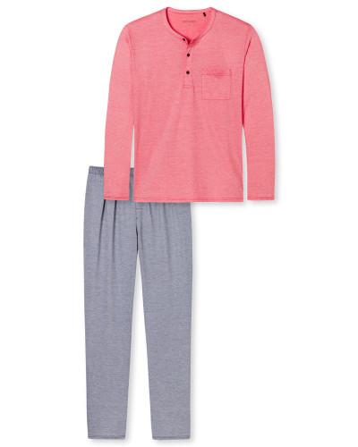 Schlafanzug lang Knopfleiste rot - Tokio