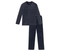 Schlafanzug lang dunkelblau-weiß geringelt - Dark Sapphire