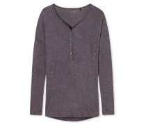Shirt langarm Injected Yarn Knopfleiste grau - Mix & Relax