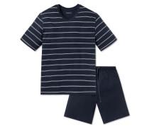 Schlafanzug kurz dunkelblau-weiß geringelt - Dark Sapphire
