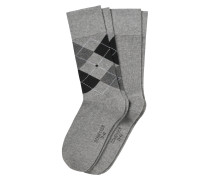 Herrensocken 2er-Pack grau meliert/ Argyle-Karomuster - Cotton Fit