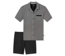 Pyjama kurz Jersey Knopfleiste schwarz gemustert - Original Classics