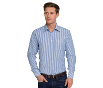 Hemd langarm bügelfrei Kentkragen blau-weiß gestreift - REGULAR FIT