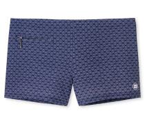 Bade-Retroshorts Reißverschluss-Tasche dunkelblau bedruckt - Aqua Miami