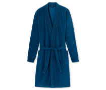Bademantel Fleece geringelt royalblau - Dark Wonder