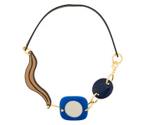 abstract leather corded necklace