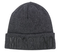 Melierte Mütze mit Logo-Patch