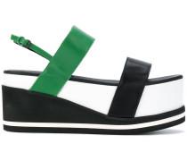 colour block flatform sandals