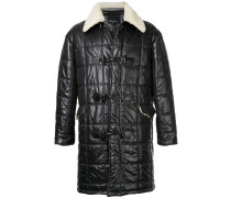 faux shearling lined quilted coat