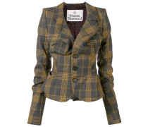 gathered check jacket