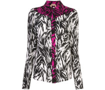zebra print panelled button-up shirt
