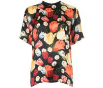 Seiden-T-Shirt mit Tulpen-Print