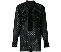 polka dot lace-up blouse