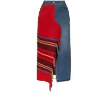 Jeans-Midirock mit Fransen