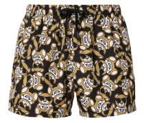 teddy print swimming trunks
