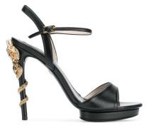 snake embellished heeled sandals