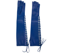 lace-up fingerless long gloves