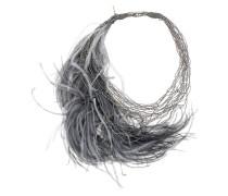 feather embellished multi strand necklace