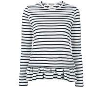 striped peplum hem long sleeve top