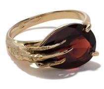 18kt 'Claw' Goldring mit Granat