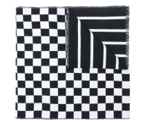 logo-print check scarf