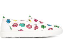 Slip-On-Sneakers mit Lippen-Print