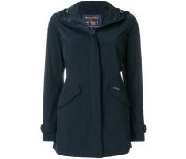slim-fit hooded raincoat