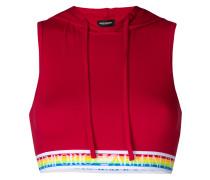 rainbow elasticated hooded bra-top