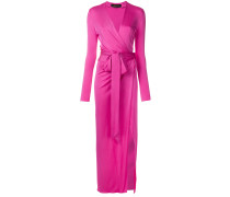 side split wrap-front evening dress
